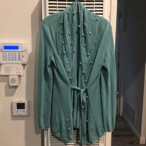 Robin-egg blue knit cardigan from Anthropologie